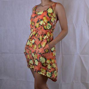 Orange Floral High-Low Dress